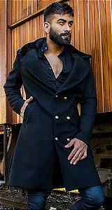 Sobretudo/Overcoat Masculino de Lã Preto com Gola de Pele