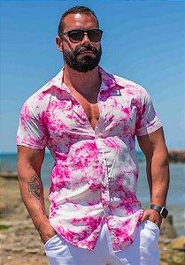 Camisa Masculina Slim Manga Curta em Viscose Tie Dye Rosa