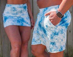 Conjunto Casal Saia e Short Estampa Tie Dye Azul
