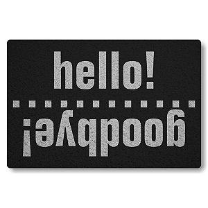 Tapete Capacho Hello Godbye - Preto