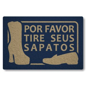 Tapete Capacho Por Favor Tire seus Sapatos - Azul Marinho
