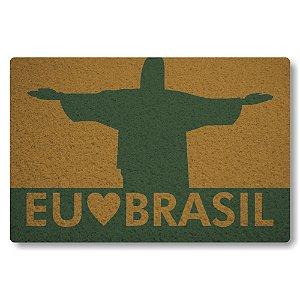 Tapete Capacho Eu Amo o Brasil - Ouro