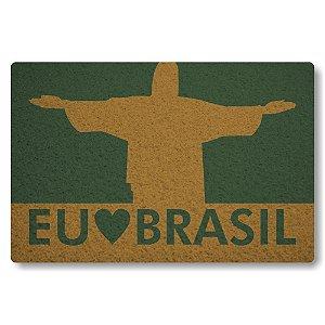 Tapete Capacho Eu Amo o Brasil - Verde Musgo