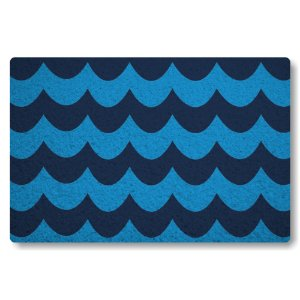 Tapete Capacho Ondas III - Azul Marinho