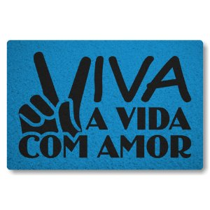 Tapete Capacho Viva com Amor - Azul Maritimo