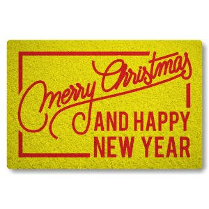 Capacho Merry Christmas and Happy New Year II - Amarelo