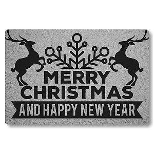 Tapete Capacho Merry Christmas and Happy New Year - Prata