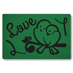 Tapete Capacho Love Pombos - Verde Bandeira