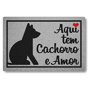 Capacho Linha Tapets Aqui tem Cachorro e Amor