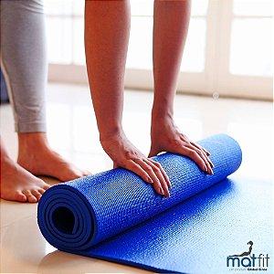 Tapete Colchonete de Ginástica Exercícios Yoga MatFit - Azul