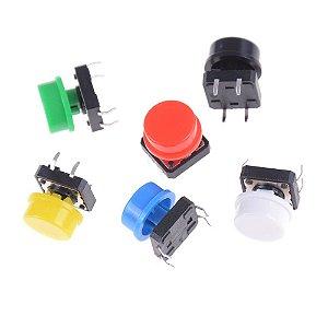 Kit 12 Chave Tátil Push Button Com Capa 6 Cores