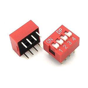 Chave DIP-Switch 4 e 6 Vias Vermelho