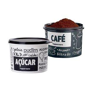 Tupperware Pote Café e Açúcar PB Fun Preto e Branco Kit 2 peças