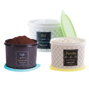 Tuppeware Conjunto com 3 potes Sal 1,3Kg, Café 700g e Farinha 1,8Kg