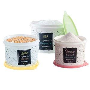 Tupperware Conjunto Com 3 Potes Sal 1,3Kg Milho 2Kg e Açúcar 1,4Kg