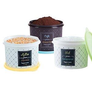 Tupperware Conjunto Com 3 Potes Milho 2,0Kg Sal 1,3Kg e Café 700g
