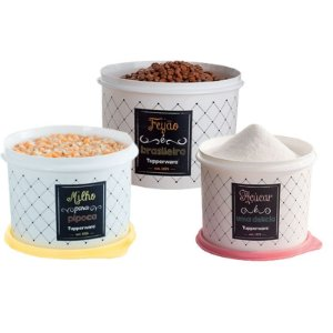 Tupperware Conjunto Com 3 Potes Feijão 2,0Kg Açúcar 1,4Kg e Milho 2,0Kg