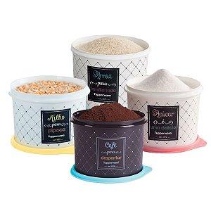 Tupperware Conjunto Com 4 Potes Café 700g Açúcar 1,4Kg Milho 2,0Kg e Arroz 5,0Kg