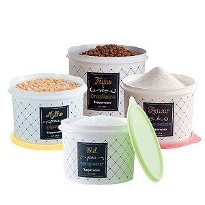 Tupperware Conjunto com 4 potes Feijão 2,0Kg, Sal 1,3Kg, Açúcar 1,4Kg e Milho 2,0Kg