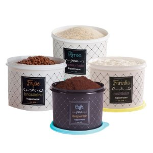 Tupperware Conjunto Com 4 Potes Arroz 5,0Kg Café 700g Farinha 1,8Kg e Feijão 2,0Kg