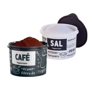 Kit mantimento 2 Potes PB FUN Tupperware Café e Sal