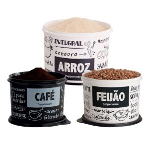 Kit Mantimento 3 Potes PB FUN Tupperware Arroz, Feijão, Café