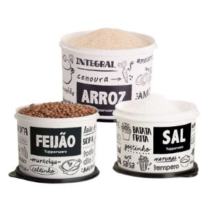Tupperware Conjunto 3 potes PB FUN Sal, Arroz e Feijão