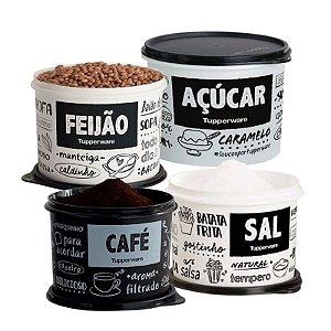Tupperware Conjunto 4 potes PB FUN Açúcar, Café, Feijão e Sal