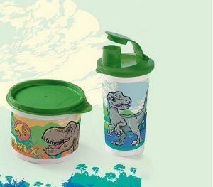 Tupperware Tupper Redondinha Jurassic World 500 ml + Copo com Bico Jurassic World