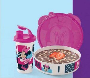 Tupperware Copo com Bico Minnie + Pratinho Minnie