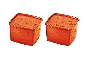 Tupperware Kit com 2 Potes Laranja Jeitosinho Aqui Tem Sopa