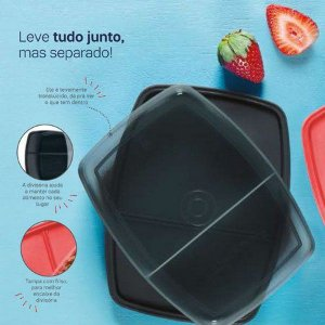 Tupperware Refri Box com Divisórias 380 ml Preto