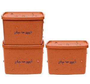 Tupperware Kit com 3 Potes Laranja Jeitosinho Aqui Tem Sopa
