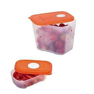 Tupperware Kit com 2 Pote Freezertime Tampa Laranja