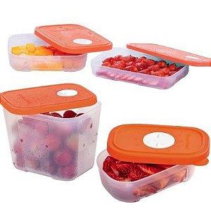 Tupperware Kit com 4 Pote Freezertime Tampa Laranja