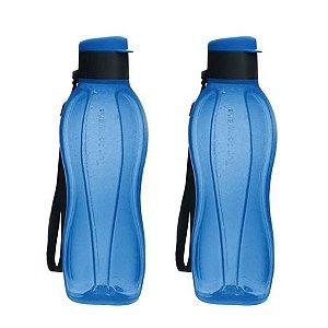 Tupperware Kit com 2 Garrafas Eco Tupper Azul com Tampa Preta