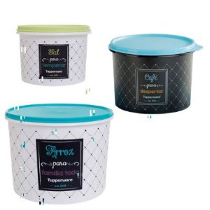 Tupperware Kit com 3 Potes Bistrô Arroz,Café e Sal