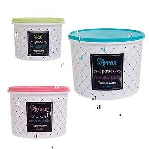 Tupperware Kit com 3 Potes Bistrô Arroz, Açucar e Sal