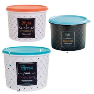Tupperware Kit com 3 Potes Bistrô Arroz,Feijão e Café