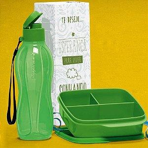 Tupperware Kit Garrafa Eco Tupper e Basic Line Verde
