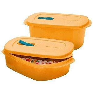 Tupperware Kit com 2 Marmitas Cristalwave Damasco 1 Litro e 1,7 Litros
