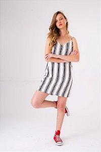 Slip Dress Listrado P&B