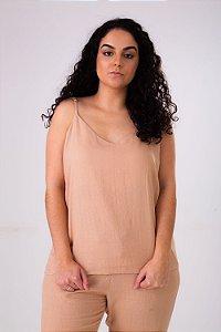 Blusa de Alcinha Linho Marrom