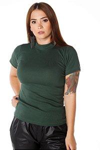 Blusa Básica Gola Alta Verde Militar