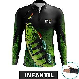 Camiseta INFANTIL de Pesca MTK MAR NEGRO com Proteção Solar 50+UVB DRY FIT