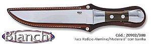 """Faca BIANCHI Rodizio - Alumínio/Madeira 8""""  Lâmina Aço Inox Com Bainha De Couro 20902/38b"""
