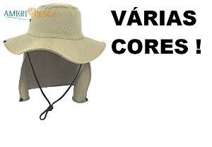 Chapéu DUPRAT de Pesca Safari C/ Protetor Solar e Nucal - Várias Cores