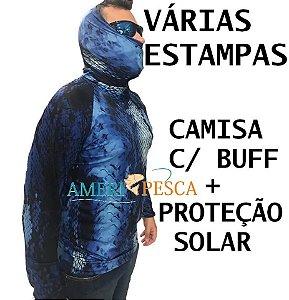 Camiseta / Blusa Pesca Com Buff e Proteção Solar - Dryfit - Mar Negro