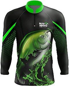 Camiseta Blusa - para pesca blusa camisa - com proteção solar UV+ UVB - Mar negro