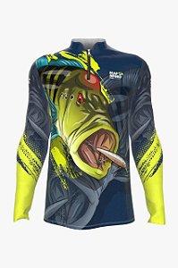 Camiseta para Pesca - Proteção Solar 50+ UV - Tucunaré Verde LIMAO fundo CHUMBO